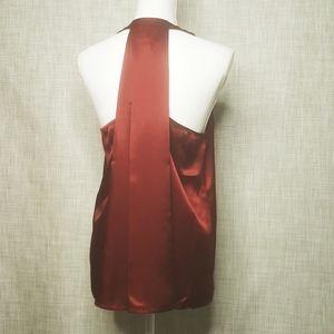 Dark Red Silky Drape Back Top, NWT